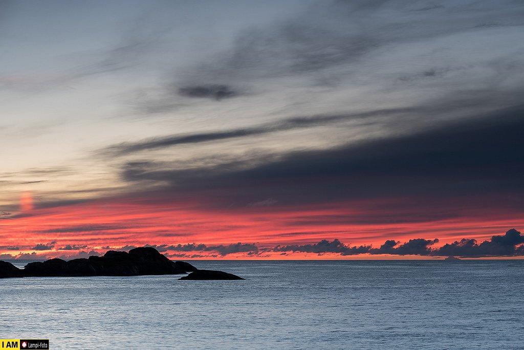 Sonnenuntergang in Hamn, Norwegen (Senja)